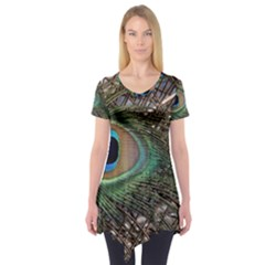 Peacock Tail Feathers Short Sleeve Tunic