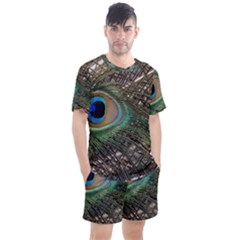 Peacock Tail Feathers Men s Mesh Tee And Shorts Set