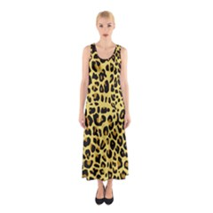 Animal Fur Skin Pattern Form Sleeveless Maxi Dress