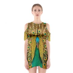 Peacock Feather Bird Peafowl Shoulder Cutout One Piece Dress