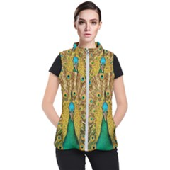 Peacock Feather Bird Peafowl Women s Puffer Vest