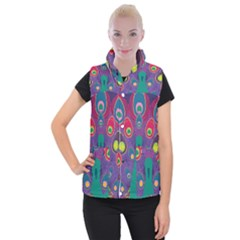 Peacock Bird Animal Feathers Women s Button Up Vest