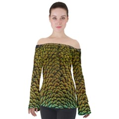 Peacock Bird Feather Color Off Shoulder Long Sleeve Top