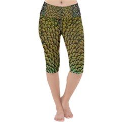 Peacock Bird Feather Color Lightweight Velour Cropped Yoga Leggings