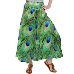 Peacock Feathers Peafowl Satin Palazzo Pants by Wegoenart