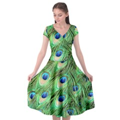 Peacock Feathers Peafowl Cap Sleeve Wrap Front Dress