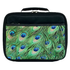 Peacock Feathers Peafowl Lunch Bag by Wegoenart