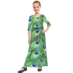 Peacock Feathers Peafowl Kids  Quarter Sleeve Maxi Dress by Wegoenart