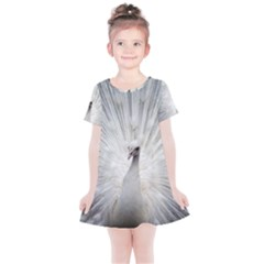 Peacock White Bird Nature Kids  Simple Cotton Dress