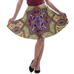 Vintage Drawing Ornament A-line Skater Skirt