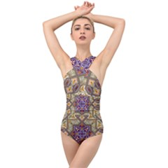 Vintage Drawing Ornament Cross Front Low Back Swimsuit