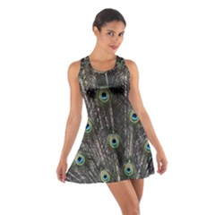 Background Peacock Feathers Cotton Racerback Dress