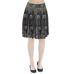 Background Peacock Feathers Pleated Skirt