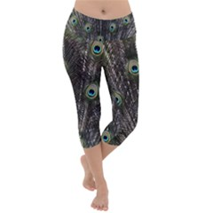 Background Peacock Feathers Lightweight Velour Capri Yoga Leggings