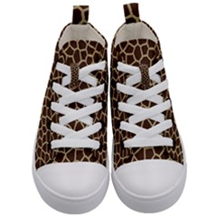 Giraffe Animal Print Skin Fur Kid s Mid Top Canvas Sneakers