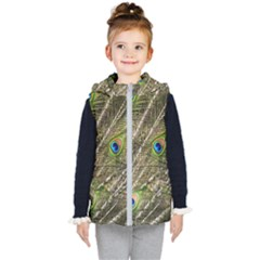 Peacock Feathers Color Plumag Kid s Hooded Puffer Vest by Wegoenart