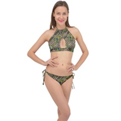 Peacock Feathers Color Plumag Cross Front Halter Bikini Set