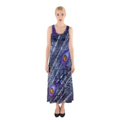 Peacock Feathers Color Plumage Sleeveless Maxi Dress