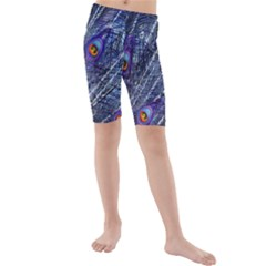 Peacock Feathers Color Plumage Kids  Mid Length Swim Shorts