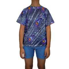 Peacock Feathers Color Plumage Kids  Short Sleeve Swimwear
