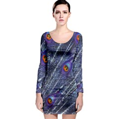 Peacock Feathers Color Plumage Long Sleeve Bodycon Dress