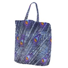 Peacock Feathers Color Plumage Giant Grocery Tote