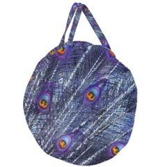 Peacock Feathers Color Plumage Giant Round Zipper Tote