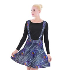 Peacock Feathers Color Plumage Suspender Skater Skirt