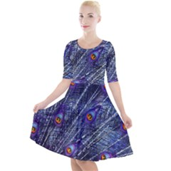 Peacock Feathers Color Plumage Quarter Sleeve A Line Dress