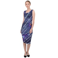 Peacock Feathers Color Plumage Sleeveless Pencil Dress
