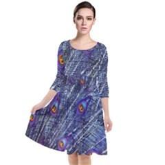 Peacock Feathers Color Plumage Quarter Sleeve Waist Band Dress