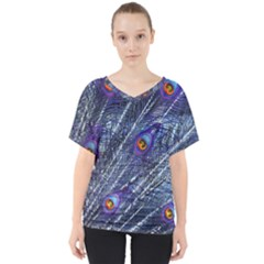 Peacock Feathers Color Plumage V Neck Dolman Drape Top