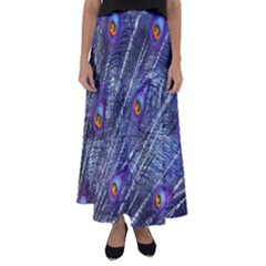 Peacock Feathers Color Plumage Flared Maxi Skirt