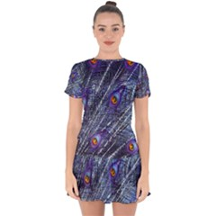 Peacock Feathers Color Plumage Drop Hem Mini Chiffon Dress