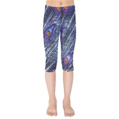 Peacock Feathers Color Plumage Kids  Capri Leggings