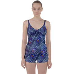 Peacock Feathers Color Plumage Tie Front Two Piece Tankini