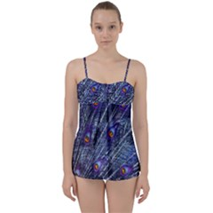 Peacock Feathers Color Plumage Babydoll Tankini Set
