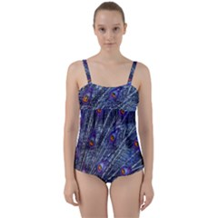 Peacock Feathers Color Plumage Twist Front Tankini Set