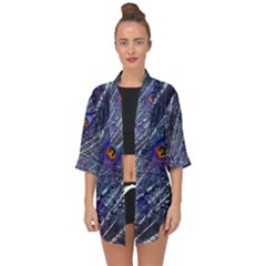 Peacock Feathers Color Plumage Open Front Chiffon Kimono