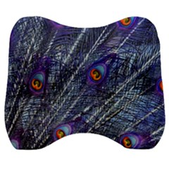 Peacock Feathers Color Plumage Velour Head Support Cushion