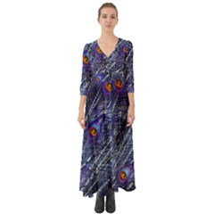Peacock Feathers Color Plumage Button Up Boho Maxi Dress
