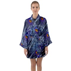 Peacock Feathers Color Plumage Long Sleeve Kimono Robe