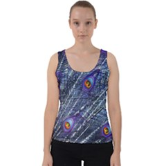 Peacock Feathers Color Plumage Velvet Tank Top