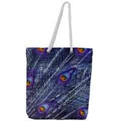 Peacock Feathers Color Plumage Full Print Rope Handle Tote (large)