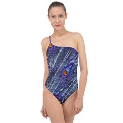 Peacock Feathers Color Plumage Classic One Shoulder Swimsuit