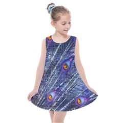 Peacock Feathers Color Plumage Kids  Summer Dress