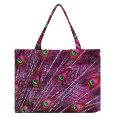 Peacock Feathers Color Plumage Zipper Medium Tote Bag