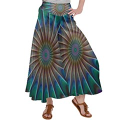 Fractal Peacock Rendering Satin Palazzo Pants by Wegoenart