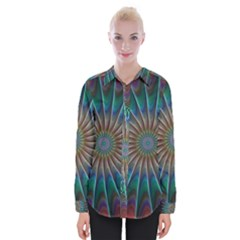 Fractal Peacock Rendering Womens Long Sleeve Shirt