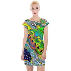 Cosmic Lizards With Alien Spaceship Cap Sleeve Bodycon Dress by chellerayartisans